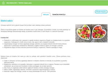 Primer rezultata dietni odziv - osebni računalnik.