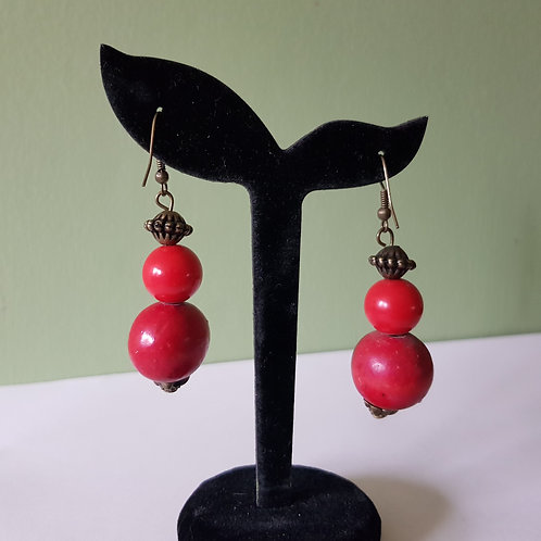 Red Teardrop Bead Earrings