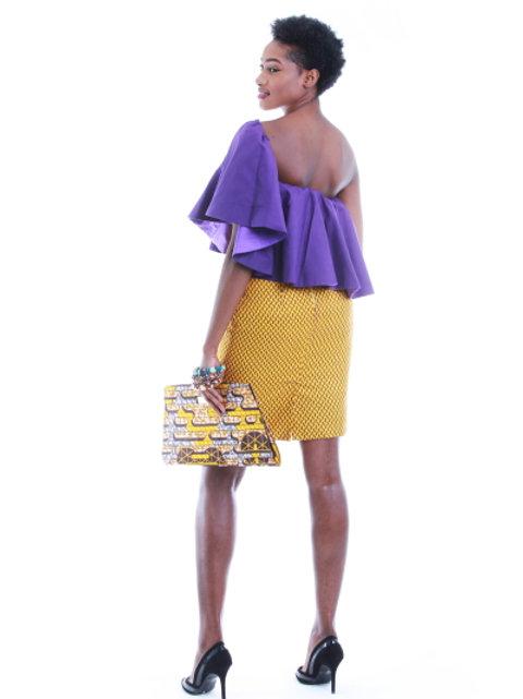 FOLKSHELF Amelia One Shoulder Frills Dress