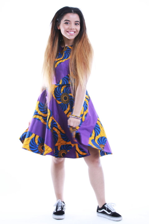 FOLKSHELF Colour Block Print Flared Skirt & Crop Top Co-Ord