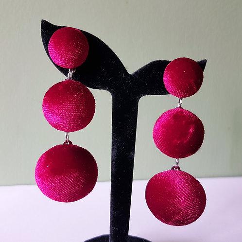 Stunning Dark Pink Velvet Pom Pom Dangle Drop Earrings