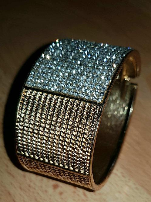 Retro Style  Gold Silver Glittery Stones Spring Hinge Clasp Bracelet