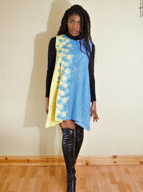FOLKSHELF Ana Denim-Print Swing Dress