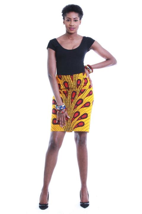 FOLKSHELF African Print Bulb Pencil Skirt