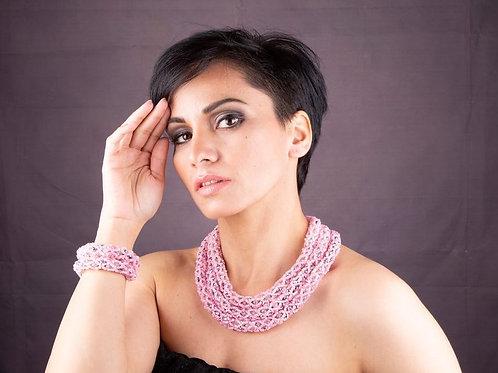 Pink Chunky Beaded Necklace & Bracelet Se