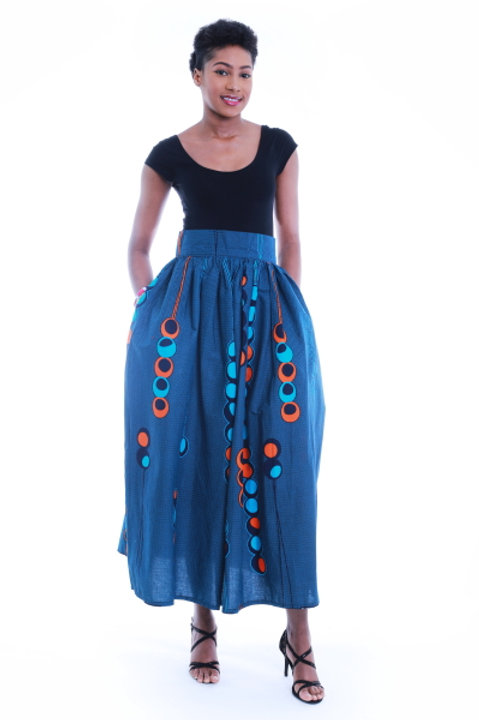 FOLKSHELF African Print Bubble Maxi Skirt