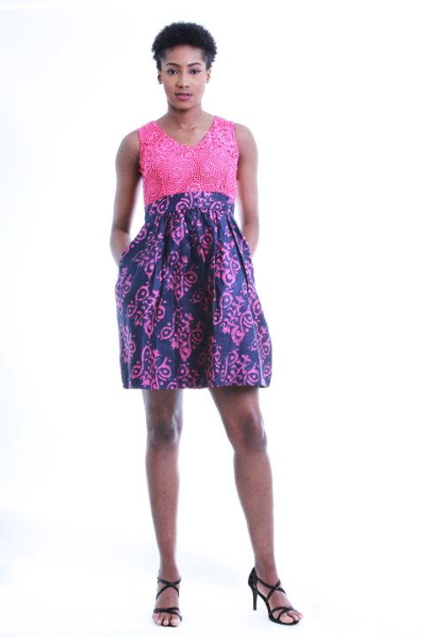 FOLKSHELF 2 In 1 Adire Lace Dress