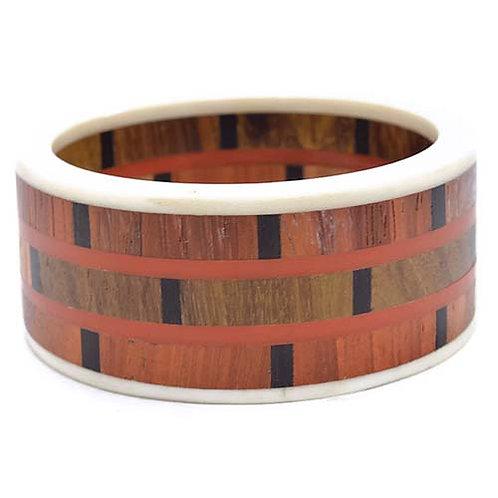Brown Wood & Resin Bangle Boho Ethnic Styled