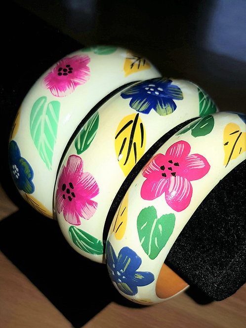 Thick Hand Painted Wooden Bangle