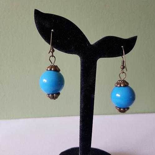 Blue Wooden Sweet Pea Bead Earrings