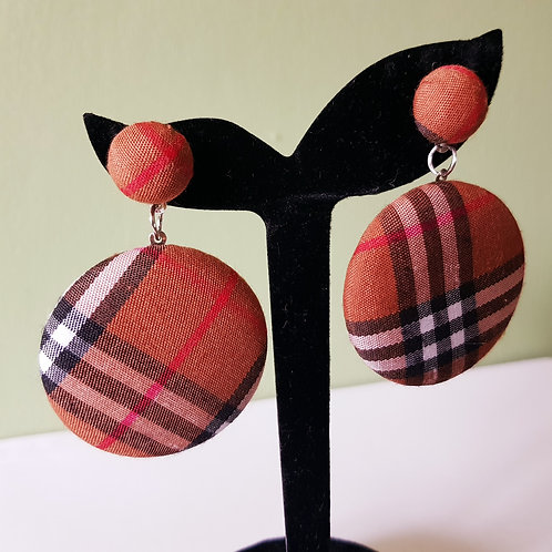 Burberry Inspired Button Drop Earrings