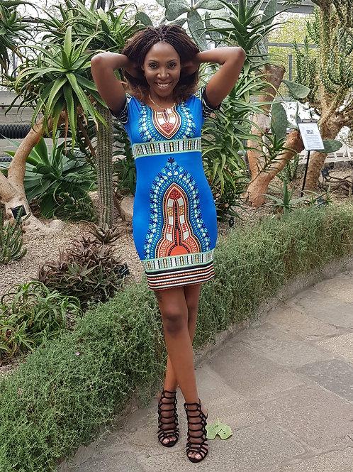 African Print Bodycon Sleeve Dress