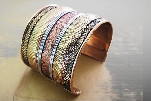 Boho Flowered Brass Copper Cuff Bracelet