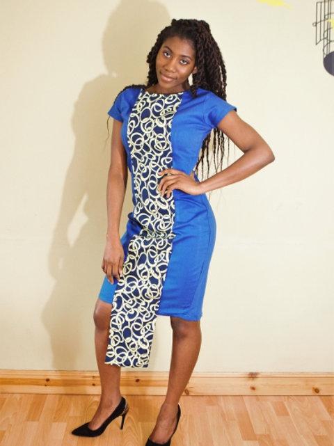 FOLKSHELF Kamela Denim-Print Dress
