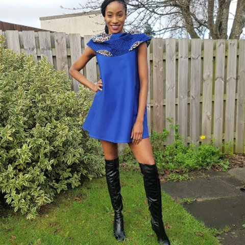 FOLKSHELF Vara African Print & Denim Dress