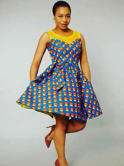 FOLKSHELF African Print Adj Skater Dress