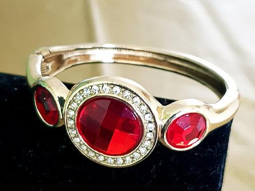 Vintage Red Stoned Style Hinge Bracelet