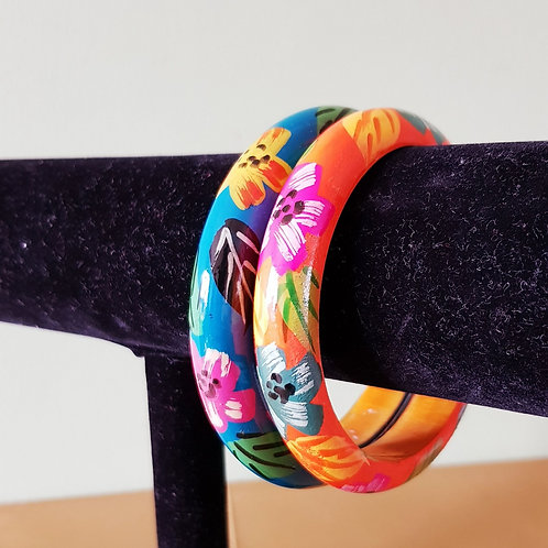 2 Mixed Coloured Hand Painted Boho Wooden Thin Bracelet Bangles