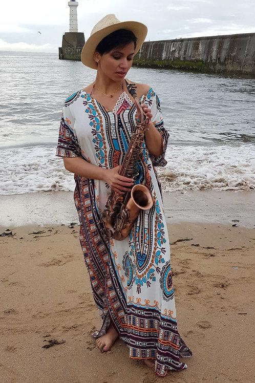 African Ethnic Print Loose Vintage Boho Kaftan Maxi Dress