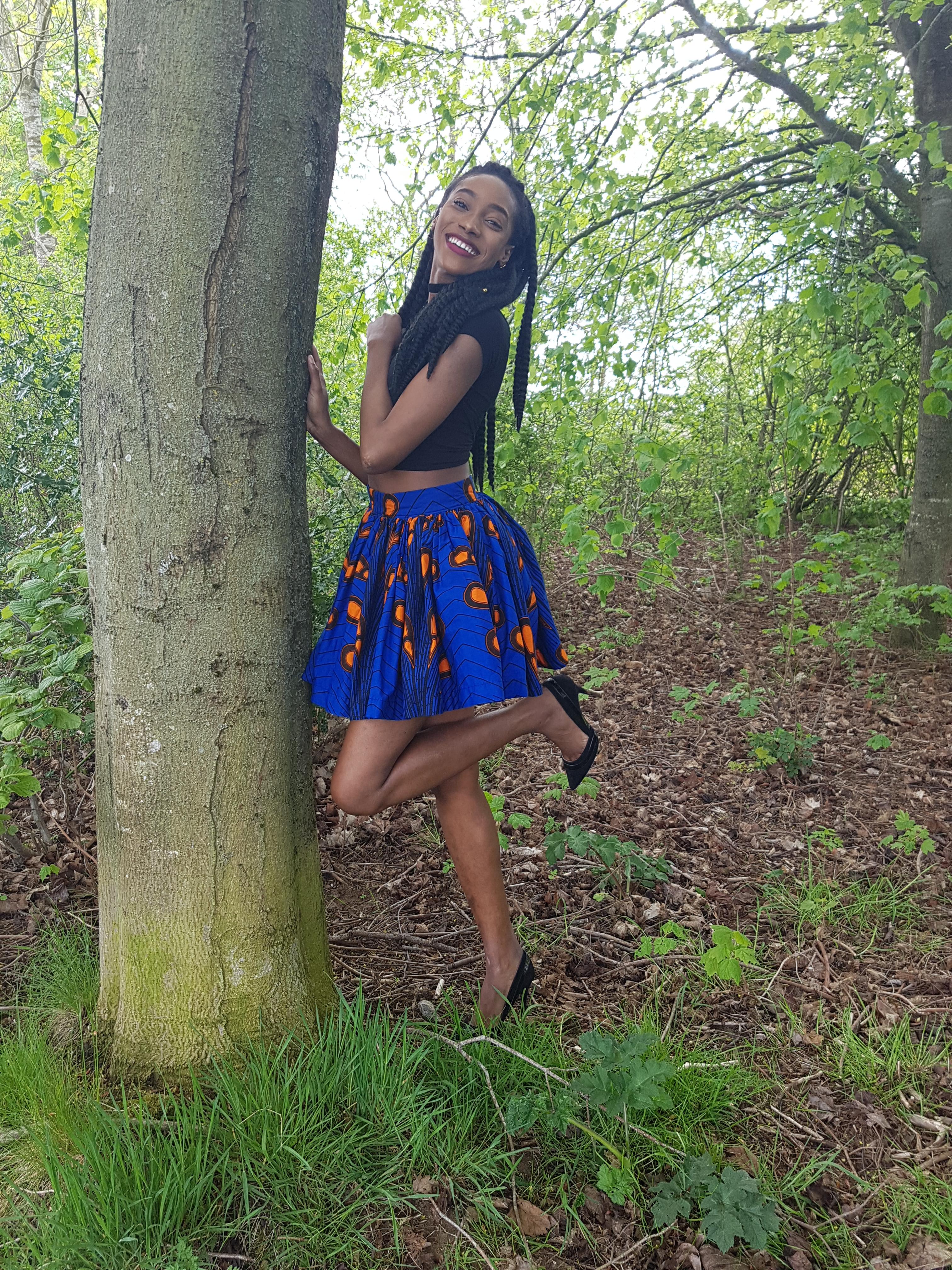 Blue African print tutu mini skirt