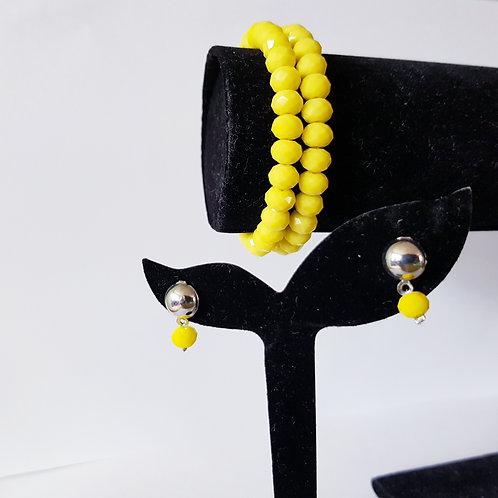 Yellow Bead Elastic Bracelet and Earrings Set