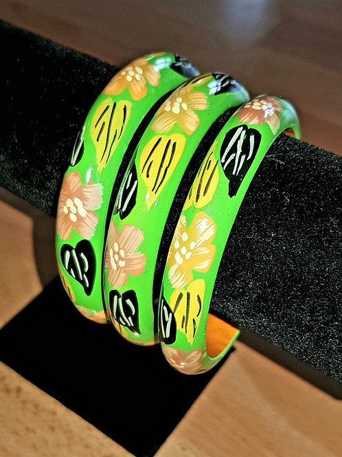 Green Hand Painted Bracelet Thin Wooden Bangle