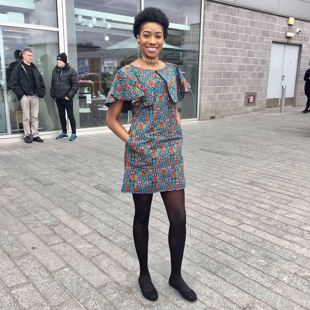 African print cute casual mini dress