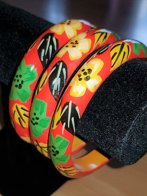Red Hand Painted Wooden Bracelet Thin Bangle