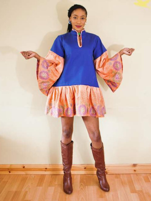 FOLKSHELF Fei Denim-Print Swing Dress