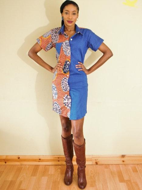 FOLKSHELF Tani Denim-Print Shirt Dress