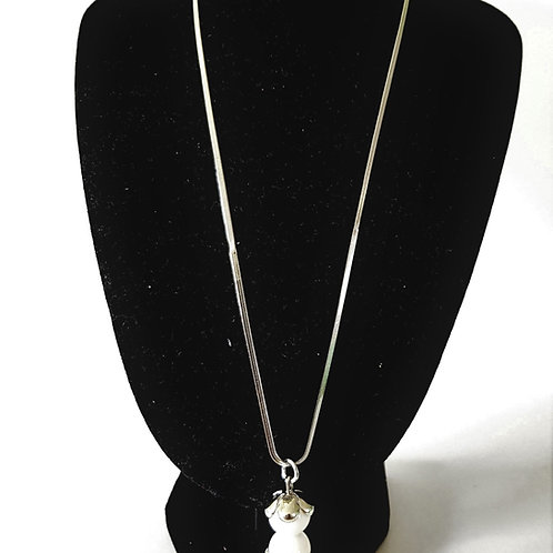 White and silver double bead drop necklace