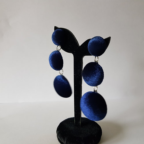 Stunning Dark Blue Velvet Pom Pom Dangle Drop Earrings