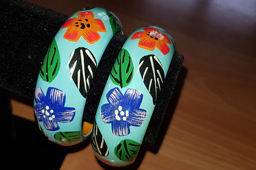 Blue Hand Painted Bracelet Wooden Bangle Floral Art Painting
