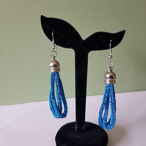 Blue Braided Tassel Dangle Drop Earrings