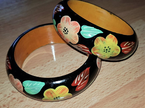 Hand Painted Bracelet Wooden Bangle Floral Art Painting