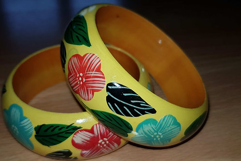 Yellow Hand Painted Bracelet Wooden Bangle Floral Art Painting