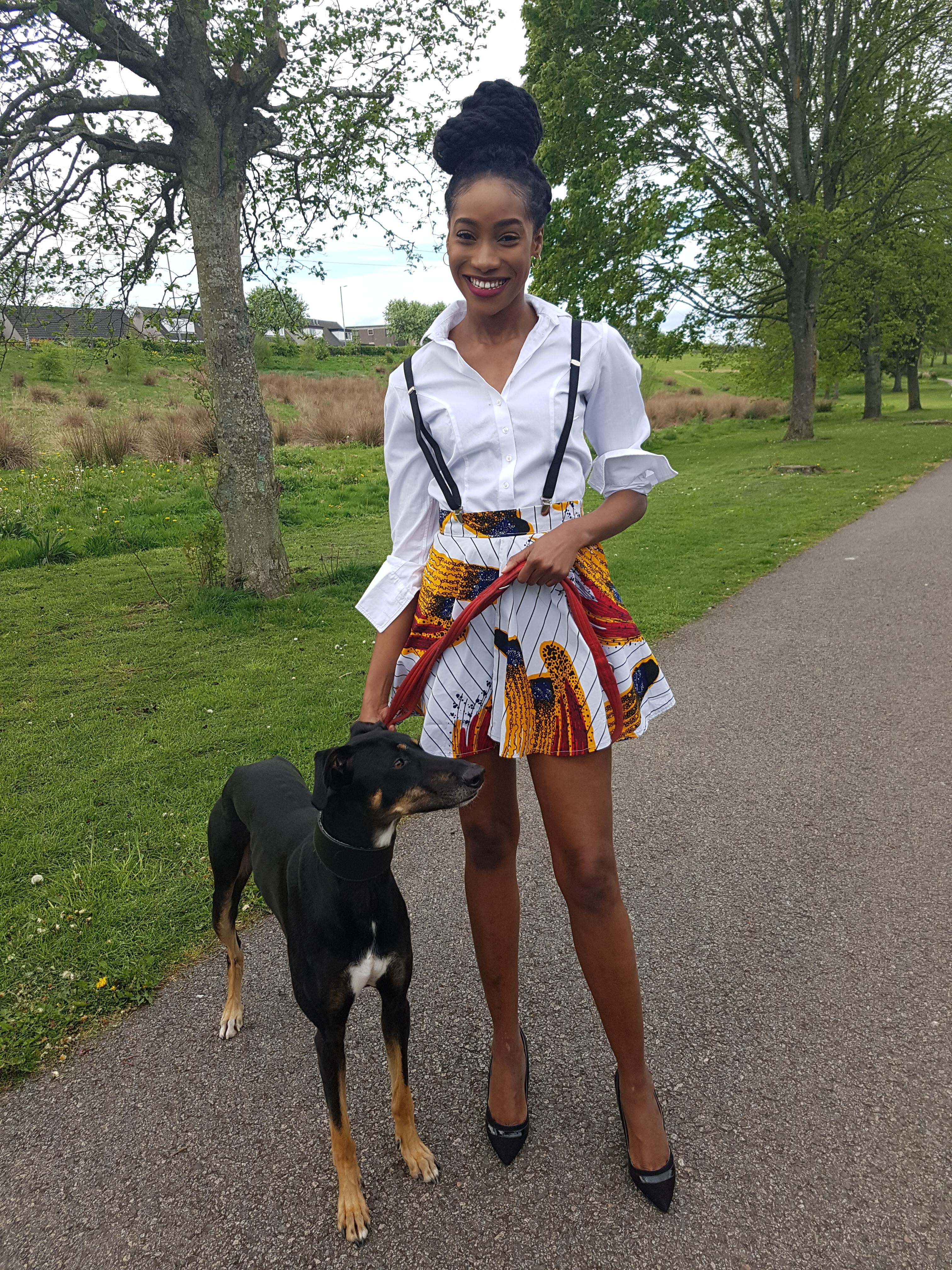 African print high waist mini skirt