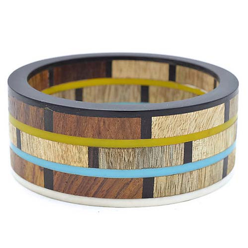 Handcrafted Natural Wood and Resin Bangle Bracelet