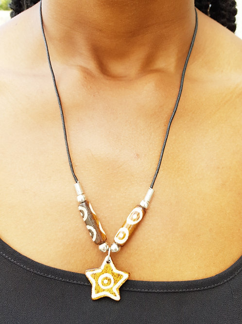African Fashion Star Bone Necklace