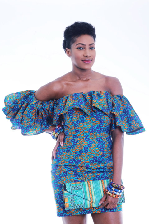 FOLKSHELF African Print Offshoulder Drop Ruffle Bodycon Dress