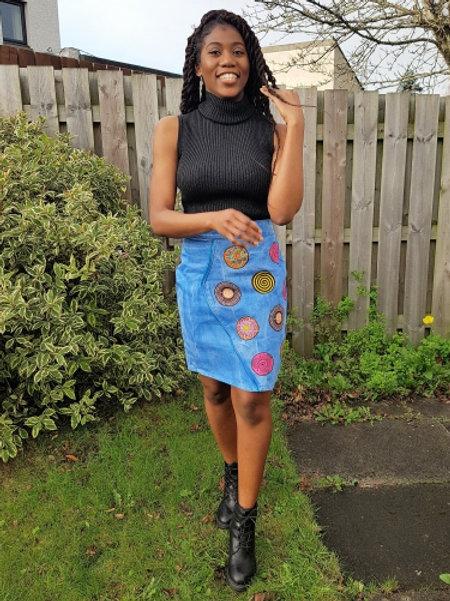 FOLKSHELF Oldie Denim Print Patched Skirt