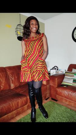 Sleeveless African print mini