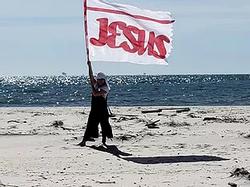 RED 55 x 75 SILK JESUS