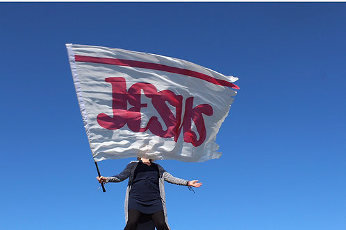 Jesus banner red polyester             SALE