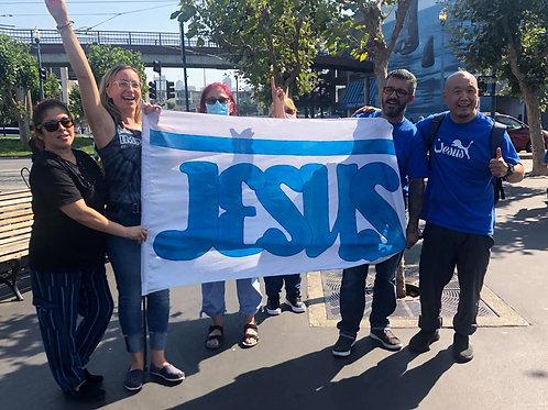 JESUS banner 40x 50 with 53 inch fiberglass pole
