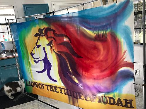 Lion of Judah Rainbow Proclamation Banner  PLUS POLE