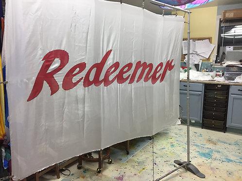 Redeemer red silk white background
