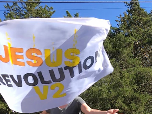 Jesus revolution banner polyester 40x50