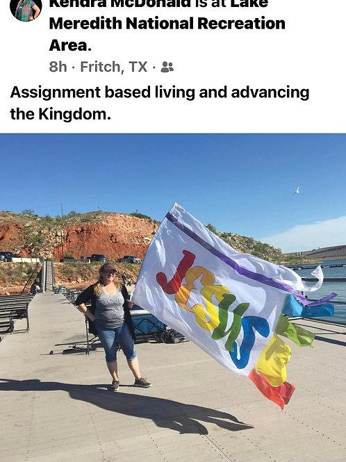 Jesus bannerflag rainbow-silk