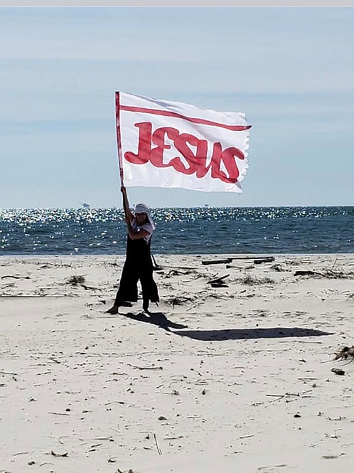 THE JESUS BANNER- RED - POLY